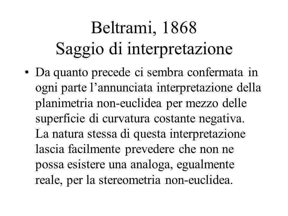 Beltrami, 1868 Saggio di interpretazione
