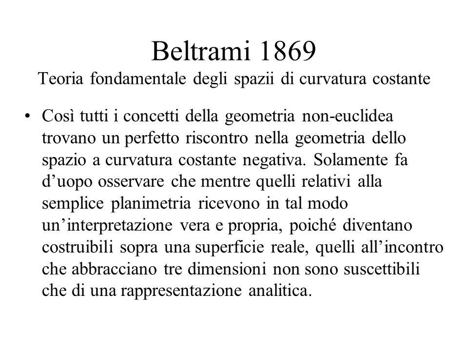 Beltrami 1869 Teoria fondamentale degli spazii di curvatura costante