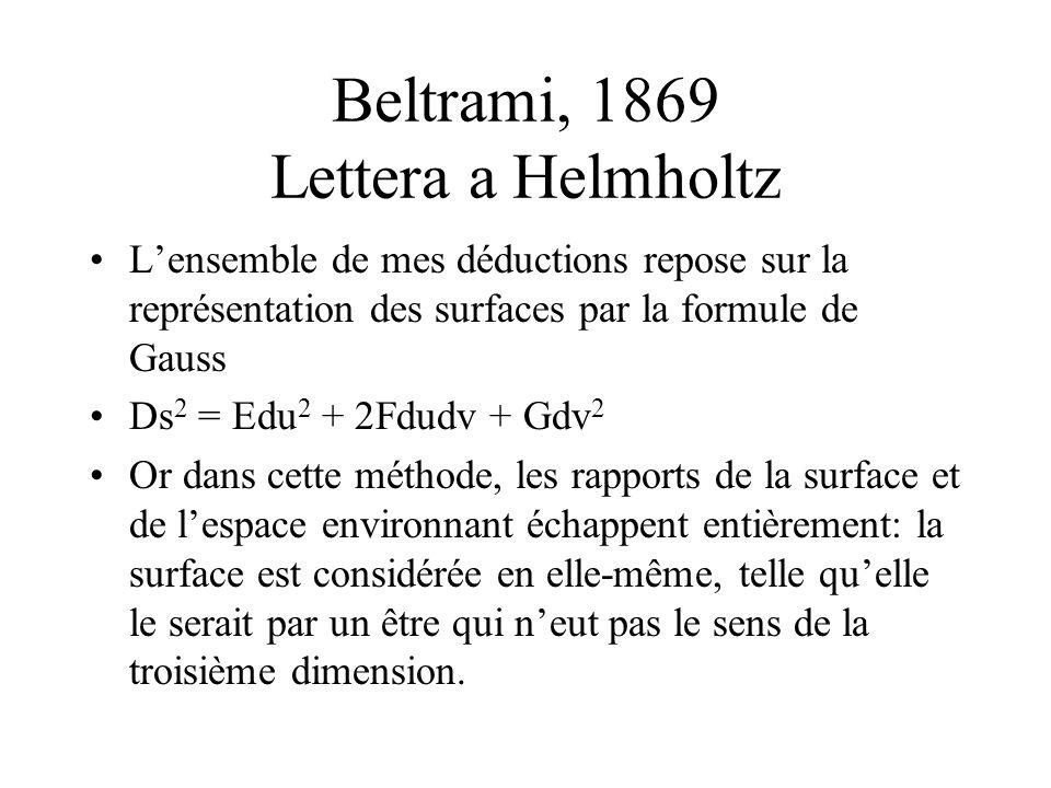 Beltrami, 1869 Lettera a Helmholtz