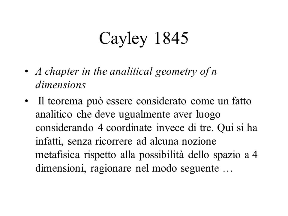 Cayley 1845 A chapter in the analitical geometry of n dimensions