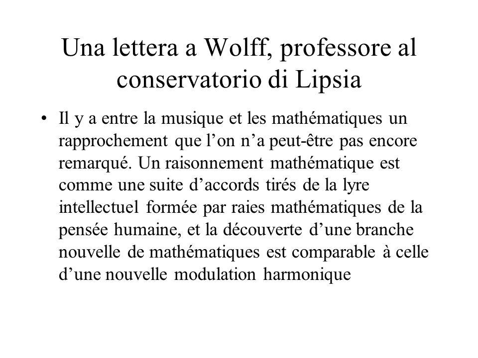 Una lettera a Wolff, professore al conservatorio di Lipsia