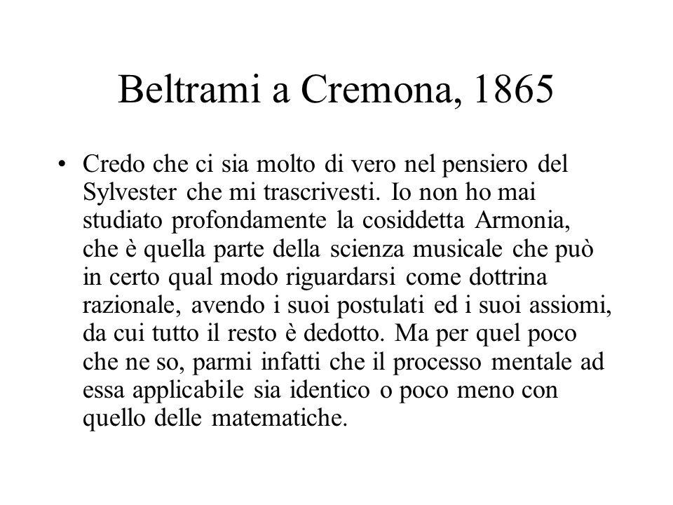 Beltrami a Cremona, 1865