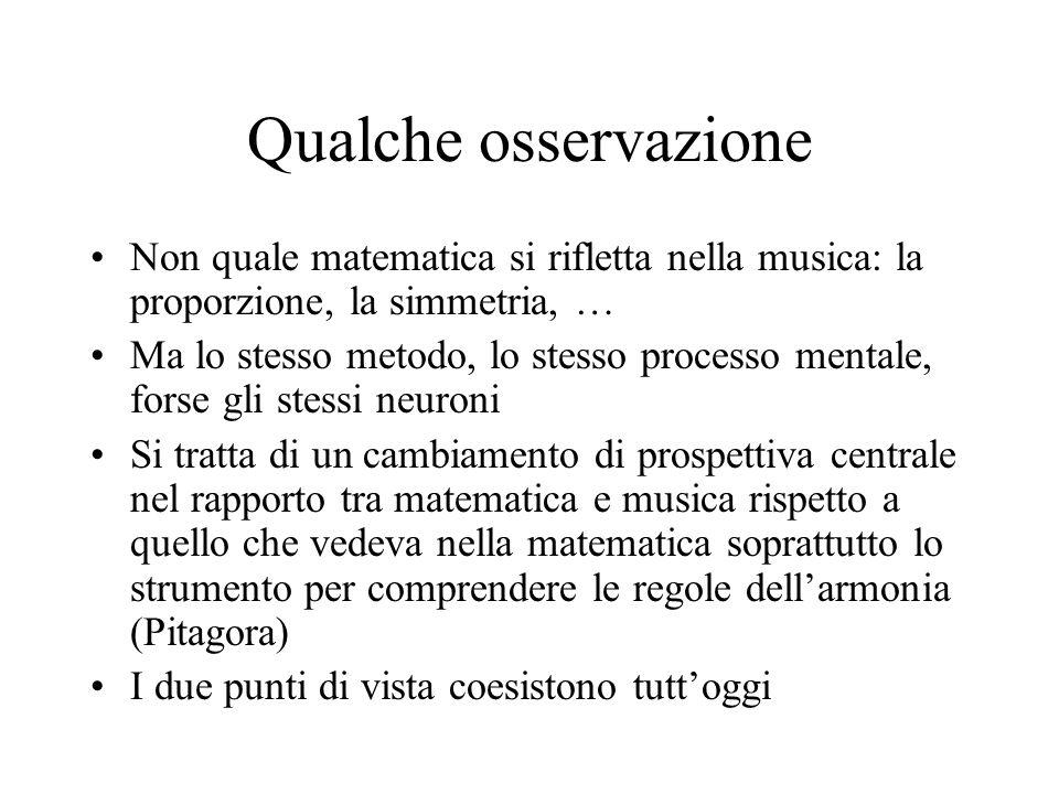 Qualche osservazione Non quale matematica si rifletta nella musica: la proporzione, la simmetria, …