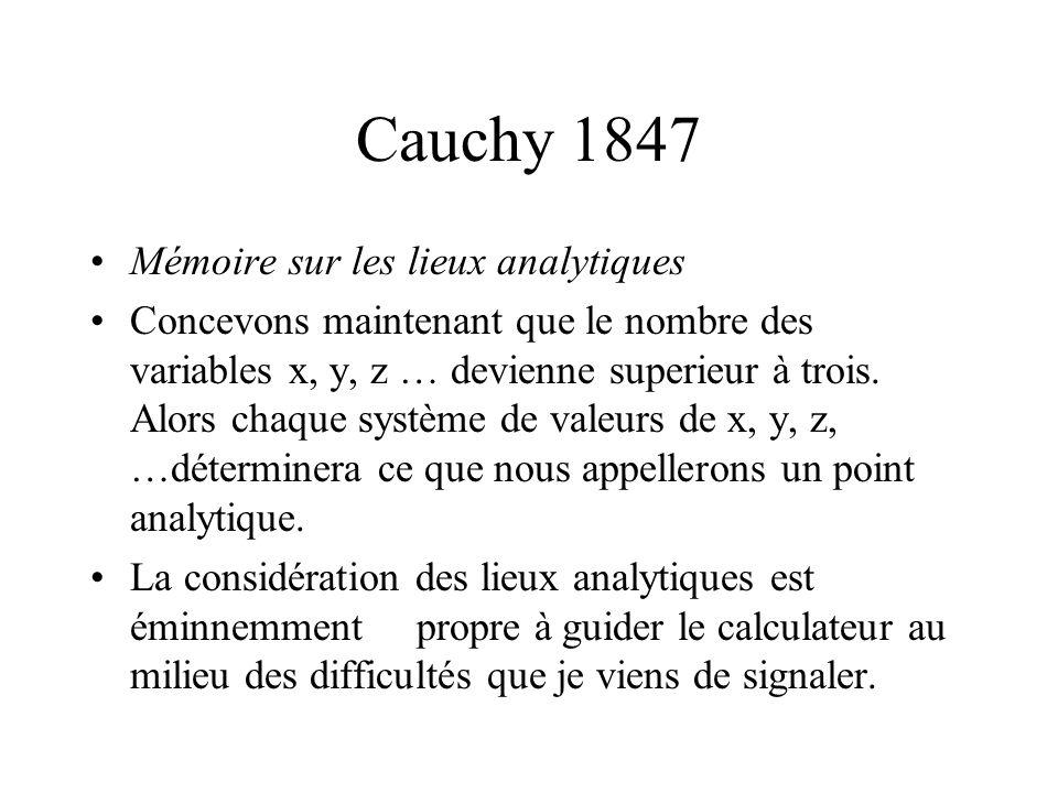Cauchy 1847 Mémoire sur les lieux analytiques