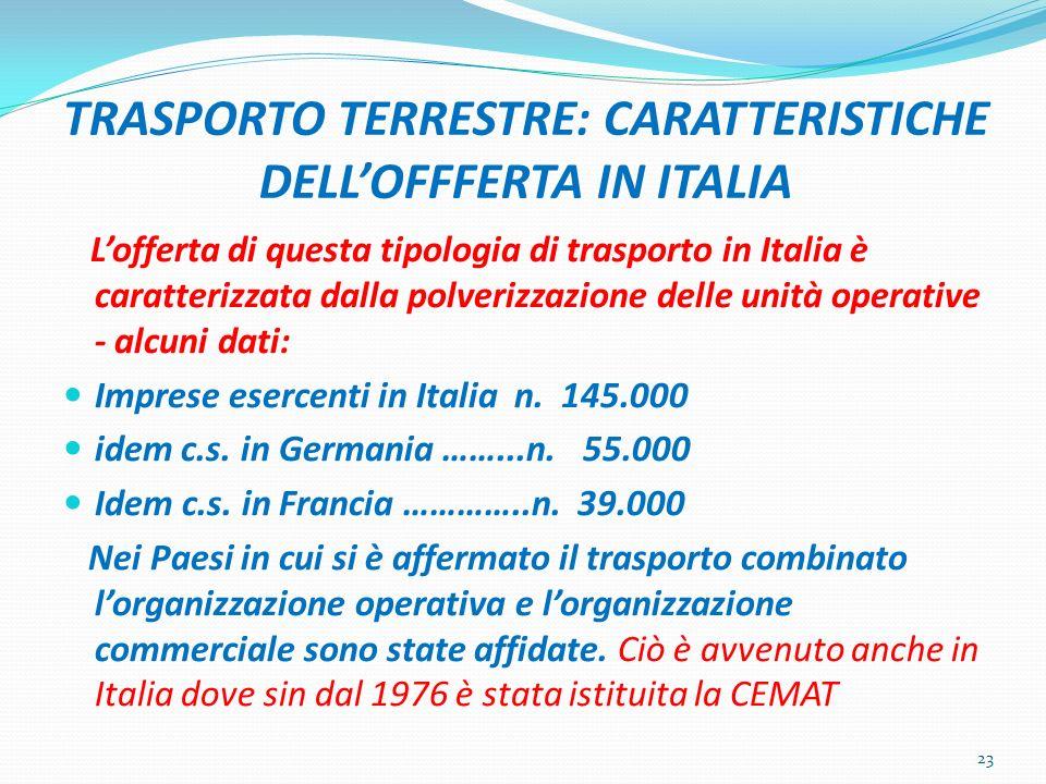TRASPORTO TERRESTRE: CARATTERISTICHE DELL'OFFFERTA IN ITALIA