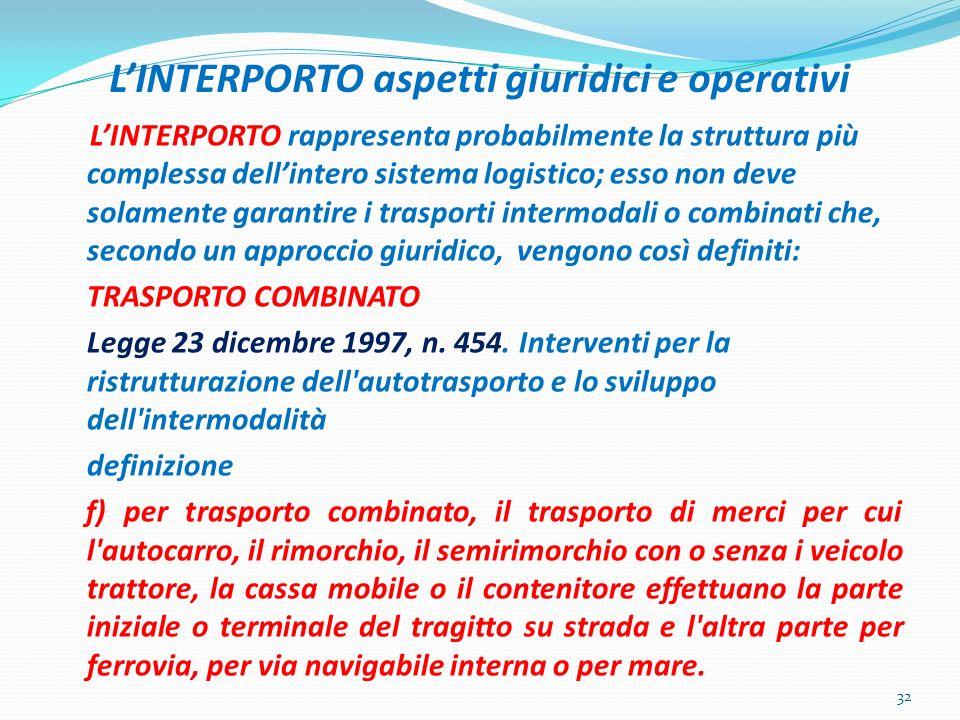 L'INTERPORTO aspetti giuridici e operativi
