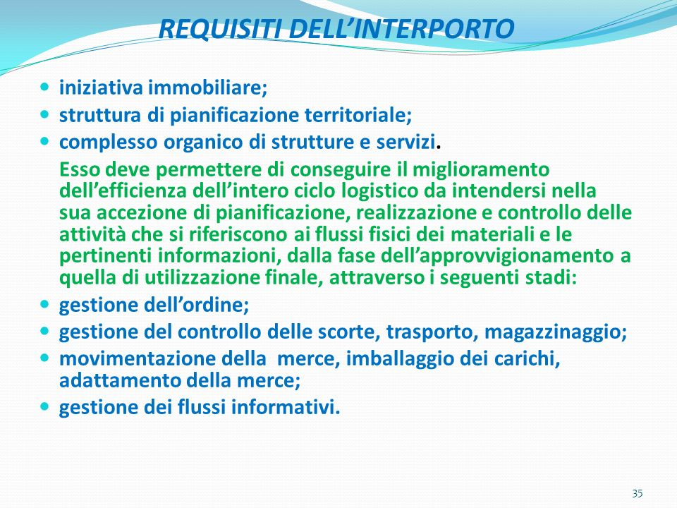 REQUISITI DELL'INTERPORTO