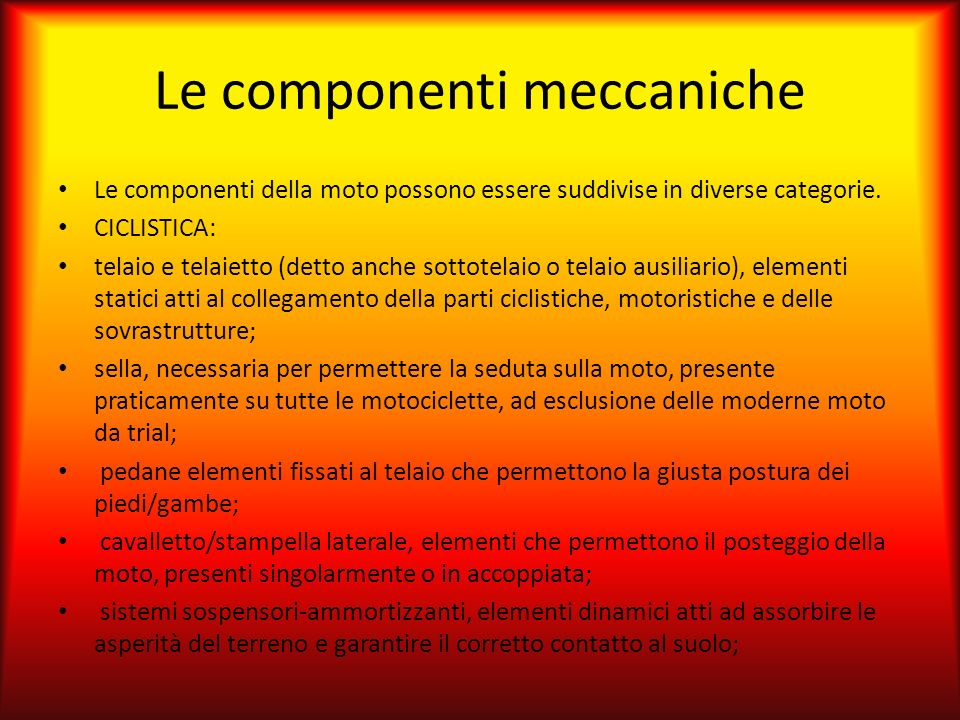 Le componenti meccaniche