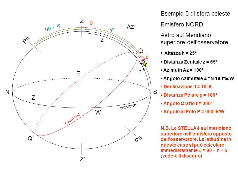 Esempio 5 di sfera celeste Emisfero NORD