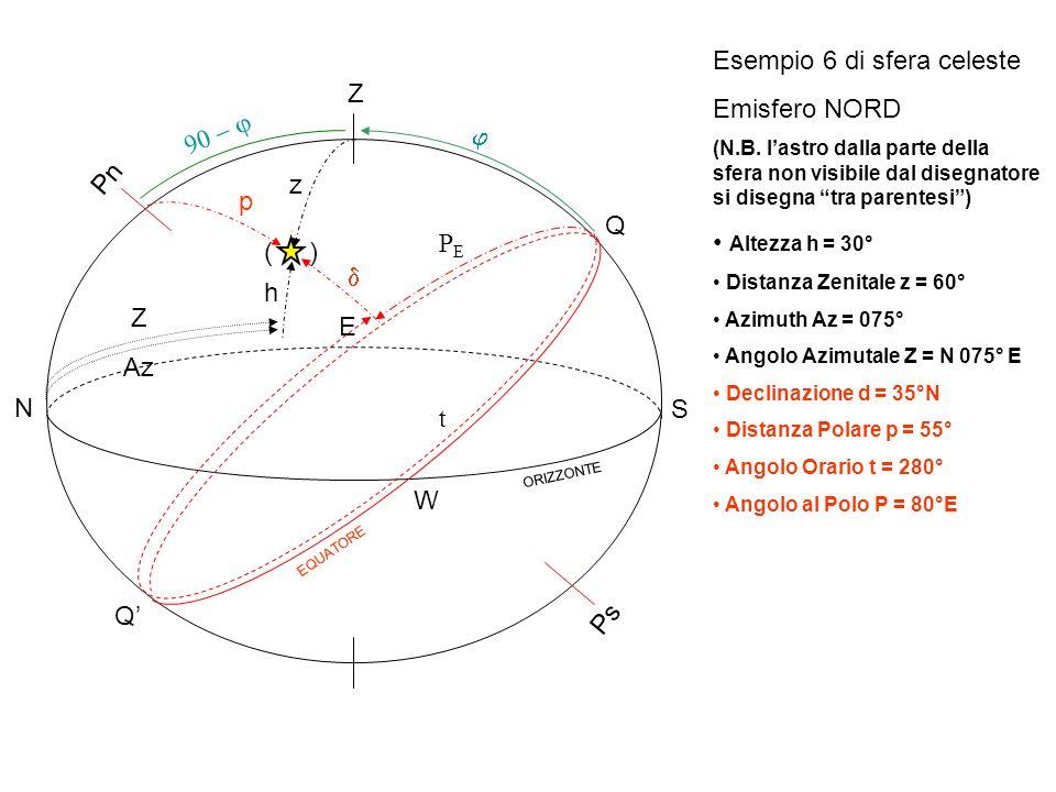 Esempio 6 di sfera celeste Emisfero NORD