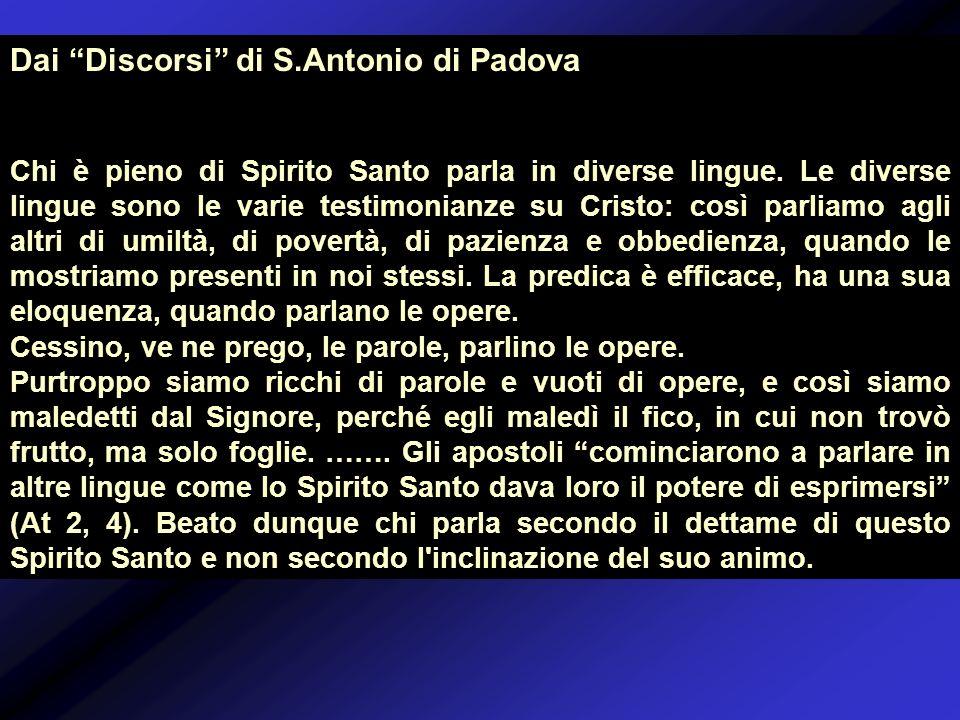 Dai Discorsi di S.Antonio di Padova