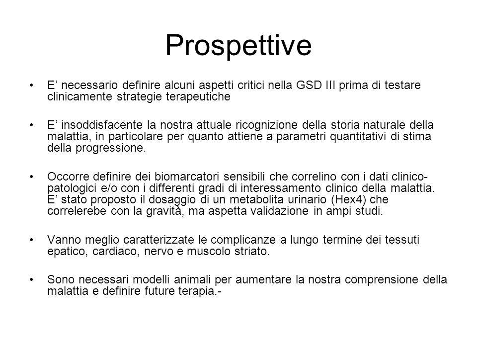 Prospettive E' necessario definire alcuni aspetti critici nella GSD III prima di testare clinicamente strategie terapeutiche.