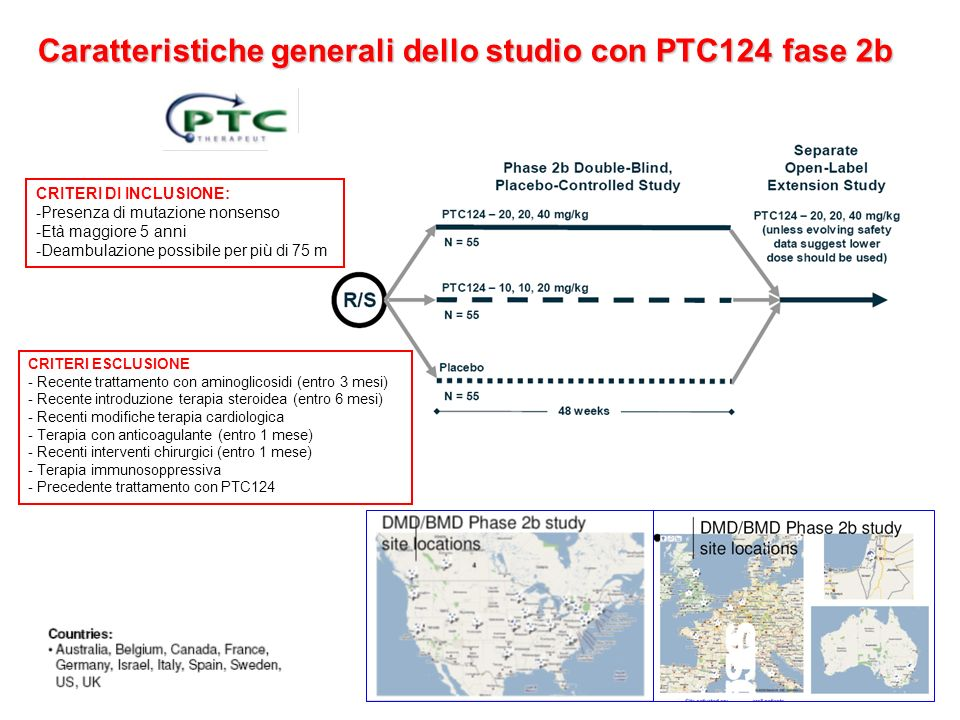 Caratteristiche generali dello studio con PTC124 fase 2b