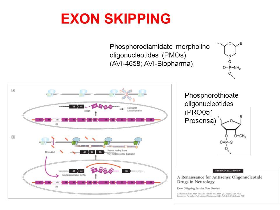 EXON SKIPPING Phosphorodiamidate morpholino oligonucleotides (PMOs)
