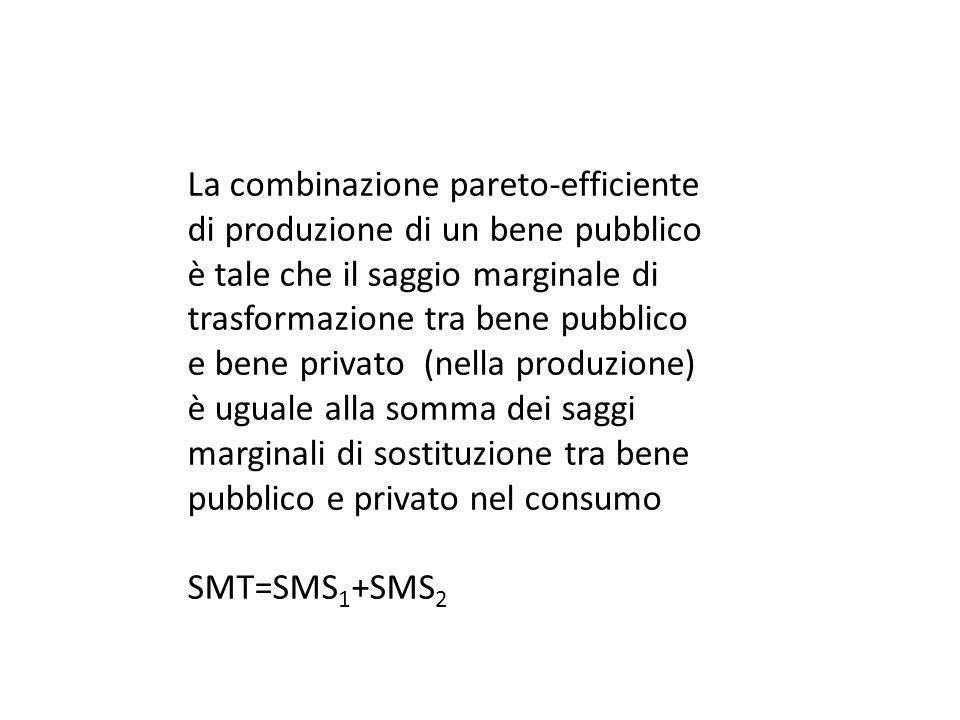 La combinazione pareto-efficiente di produzione di un bene pubblico è tale che il saggio marginale di trasformazione tra bene pubblico e bene privato (nella produzione) è uguale alla somma dei saggi marginali di sostituzione tra bene pubblico e privato nel consumo