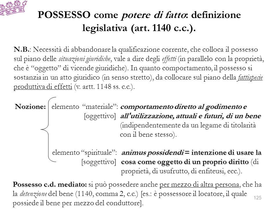 POSSESSO come potere di fatto: definizione legislativa (art. 1140 c. c