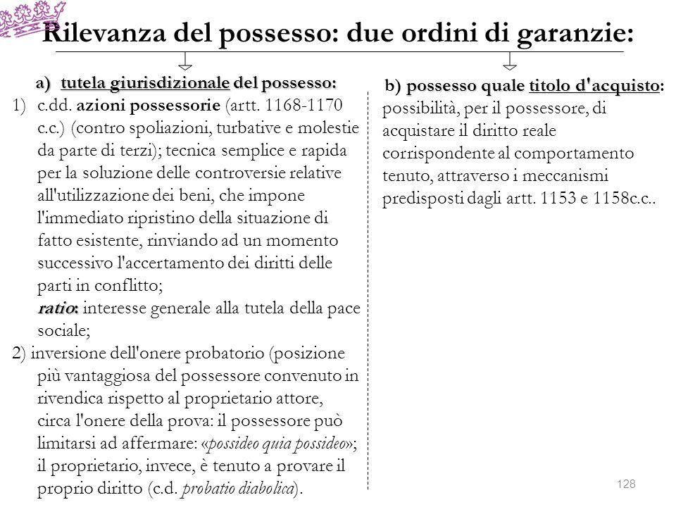 Rilevanza del possesso: due ordini di garanzie: