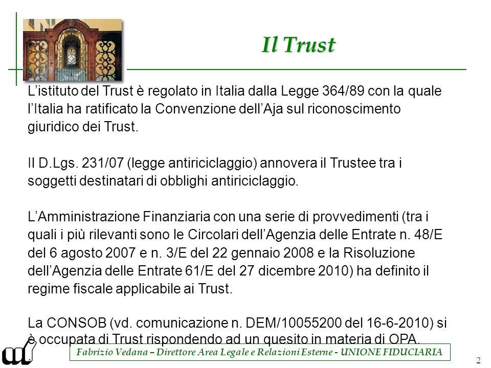 Il Trust L'istituto del Trust è regolato in Italia dalla Legge 364/89 con la quale.