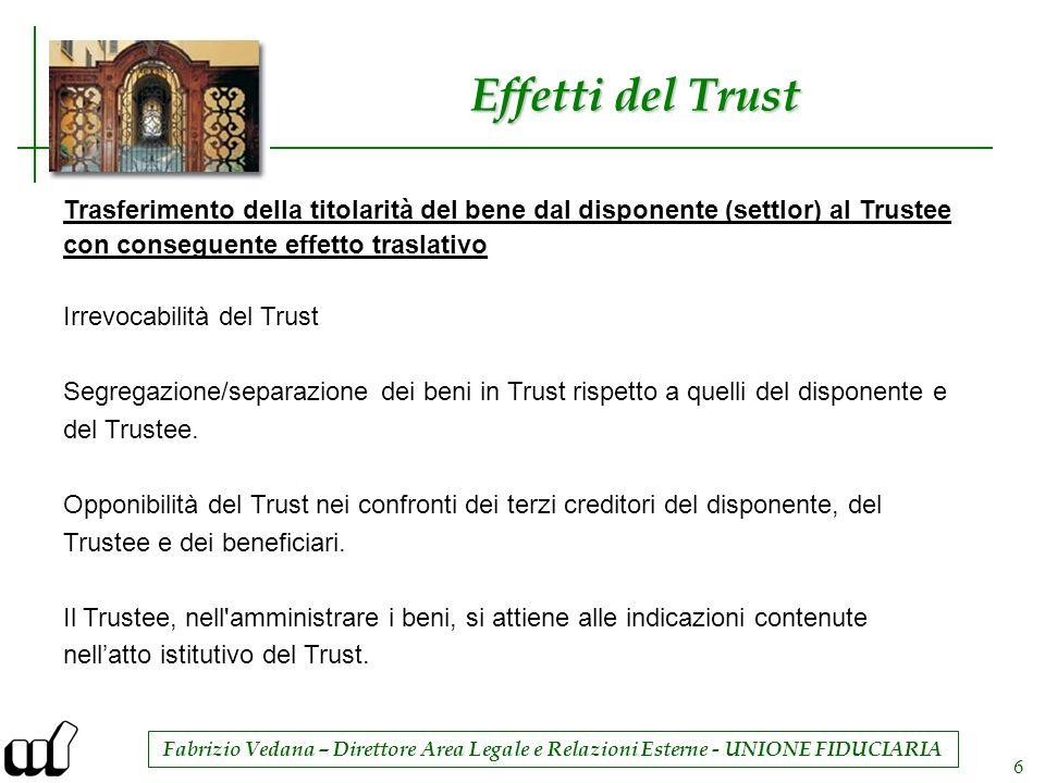 Effetti del Trust Trasferimento della titolarità del bene dal disponente (settlor) al Trustee. con conseguente effetto traslativo.