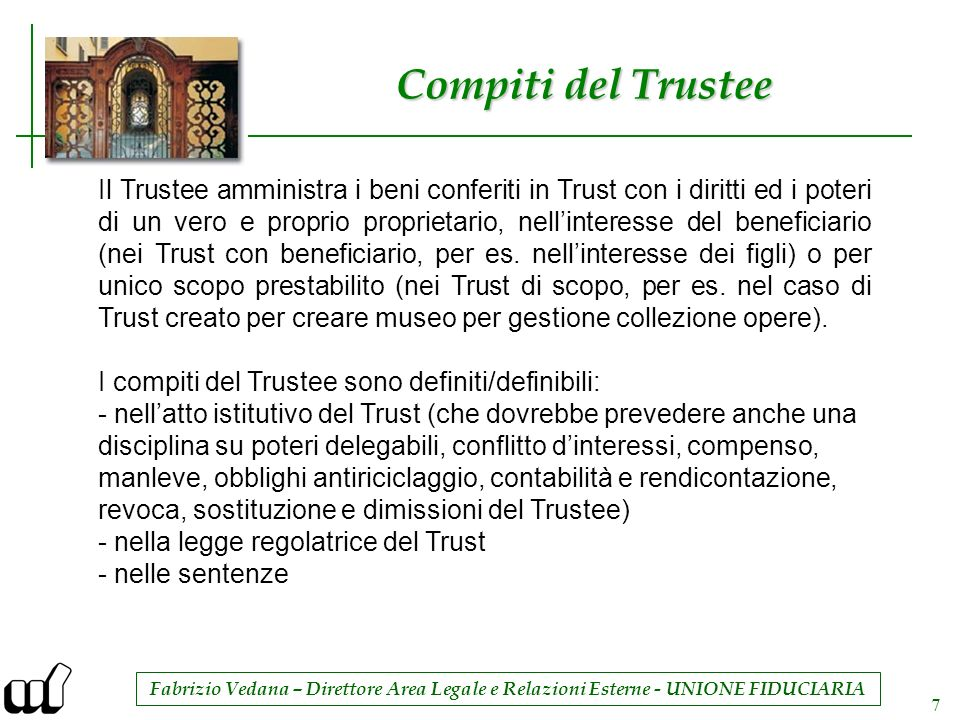 Compiti del Trustee