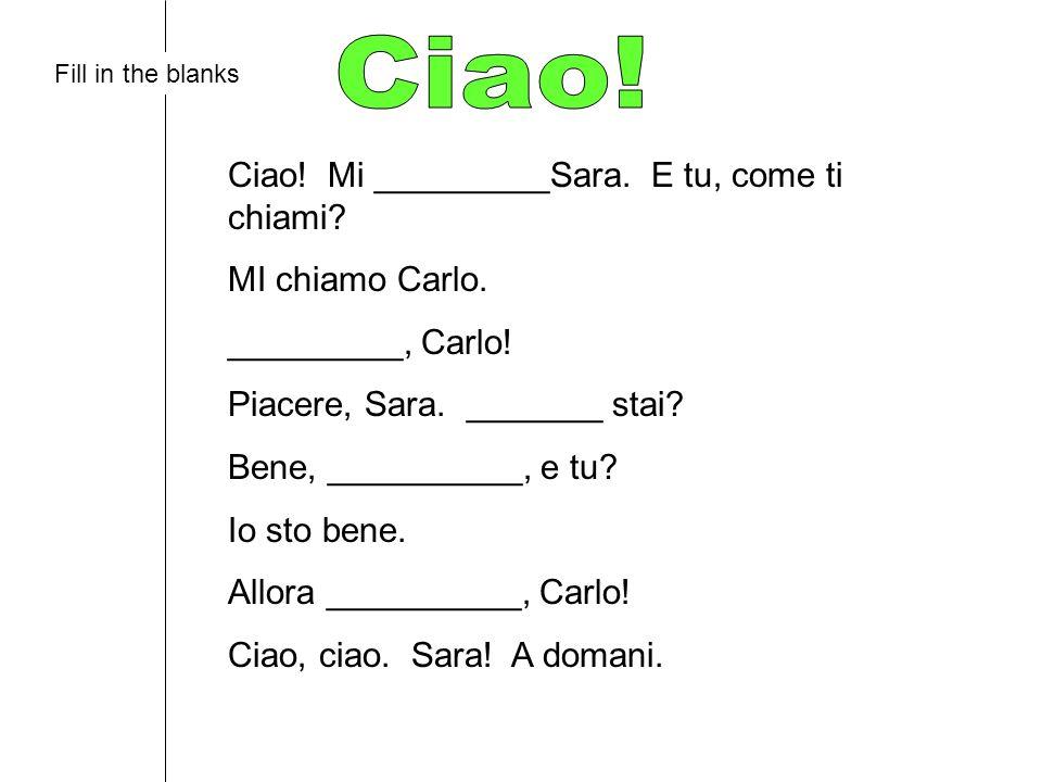 Ciao! Ciao! Mi _________Sara. E tu, come ti chiami MI chiamo Carlo.