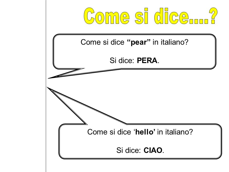 Come si dice.... Come si dice pear in italiano Si dice: PERA.