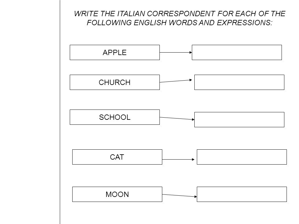 WRITE THE ITALIAN CORRESPONDENT FOR EACH OF THE FOLLOWING ENGLISH WORDS AND EXPRESSIONS: