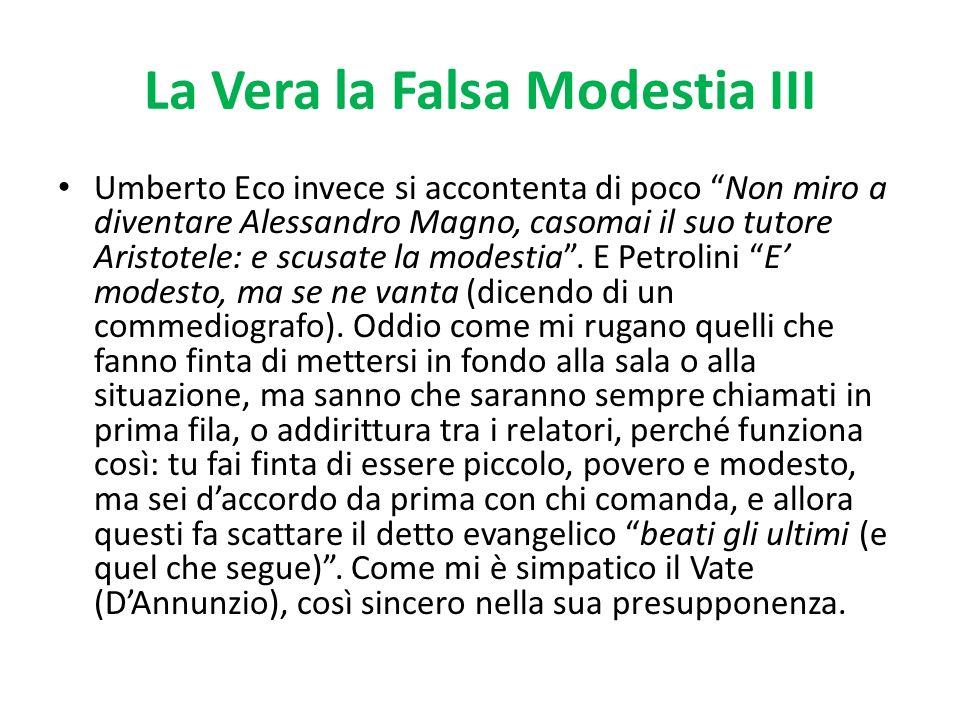 La Vera la Falsa Modestia III