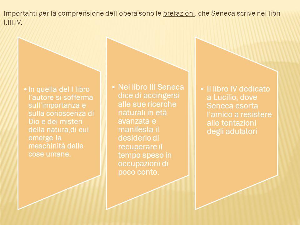 Importanti per la comprensione dell'opera sono le prefazioni, che Seneca scrive nei libri I,III,IV.