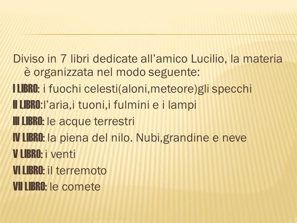 Diviso in 7 libri dedicate all'amico Lucilio, la materia è organizzata nel modo seguente: I LIBRO: i fuochi celesti(aloni,meteore)gli specchi II LIBRO:l'aria,i tuoni,i fulmini e i lampi III LIBRO: le acque terrestri IV LIBRO: la piena del nilo.