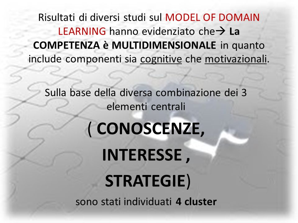 ( CONOSCENZE, INTERESSE , STRATEGIE)