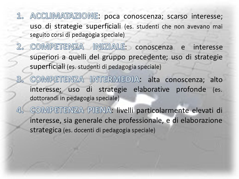 ACCLIMATAZIONE: poca conoscenza; scarso interesse; uso di strategie superficiali (es. studenti che non avevano mai seguito corsi di pedagogia speciale)