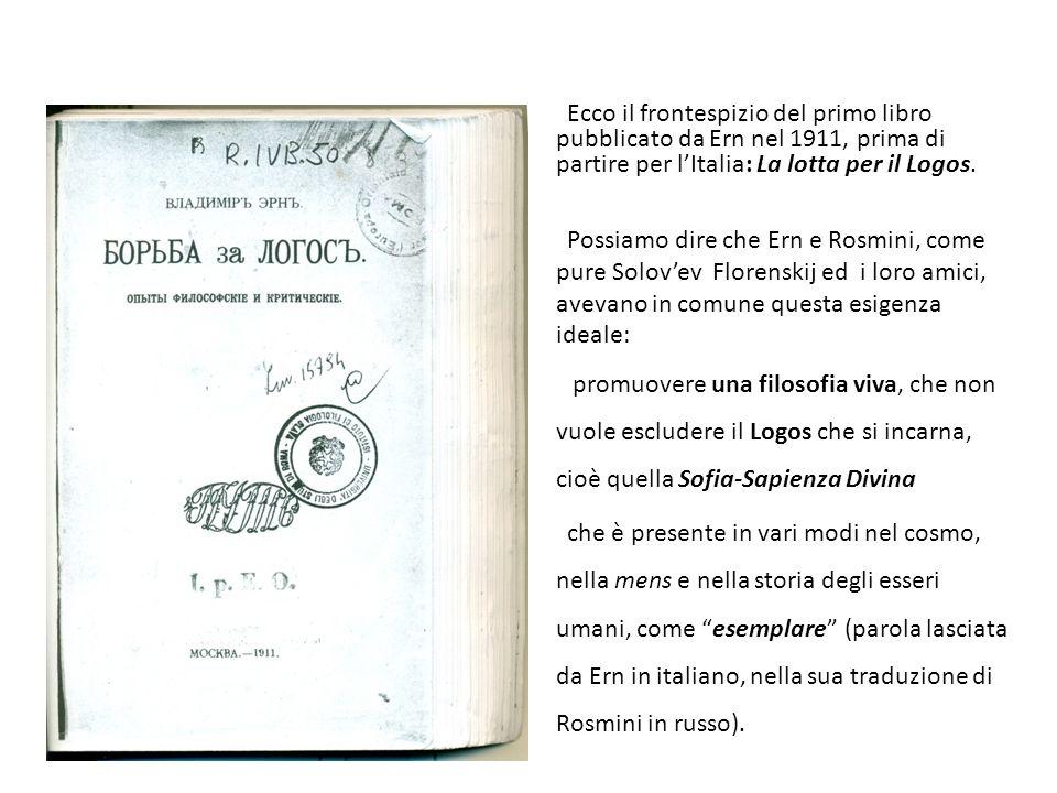 Ecco il frontespizio del primo libro pubblicato da Ern nel 1911, prima di partire per l'Italia: La lotta per il Logos.