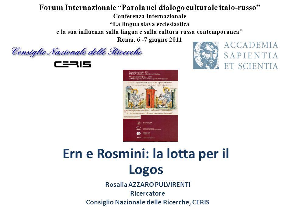 Ern e Rosmini: la lotta per il Logos