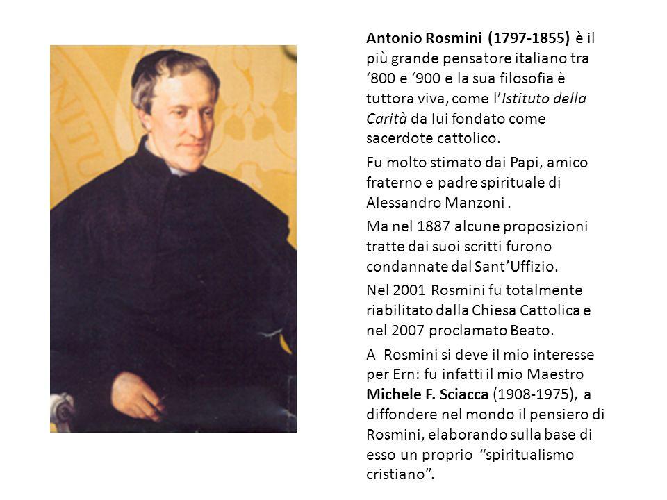 Antonio Rosmini (1797-1855) è il più grande pensatore italiano tra '800 e '900 e la sua filosofia è tuttora viva, come l'Istituto della Carità da lui fondato come sacerdote cattolico.
