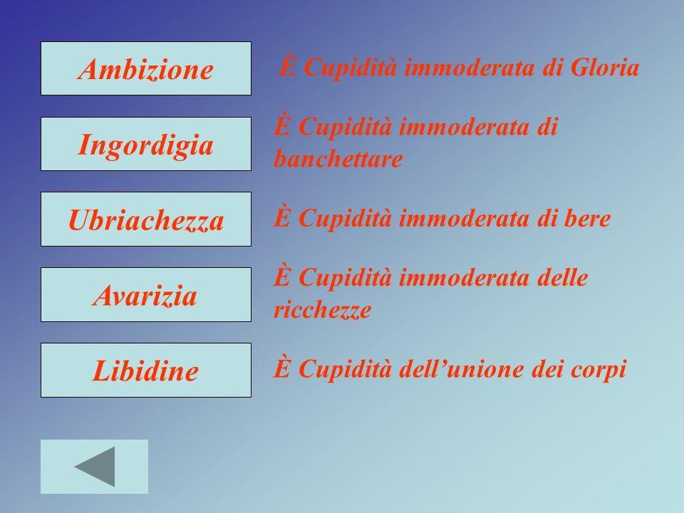 Ambizione Ingordigia Ubriachezza Avarizia Libidine