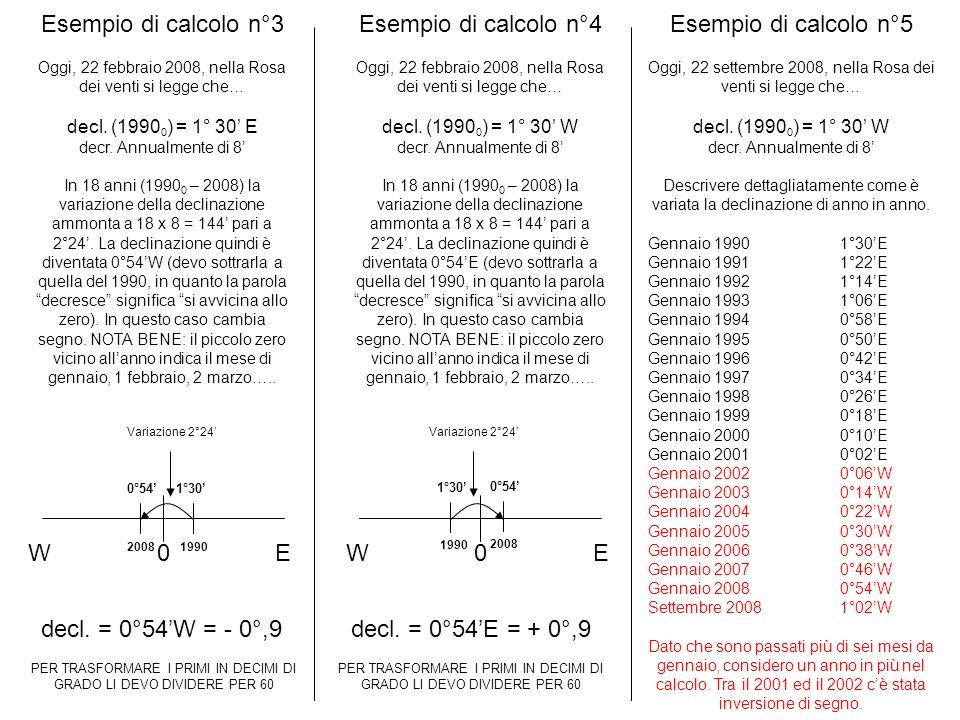 Esempio di calcolo n°3 Esempio di calcolo n°4 Esempio di calcolo n°5 W