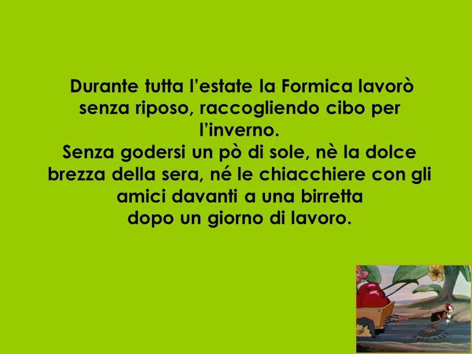 Durante tutta l'estate la Formica lavorò senza riposo, raccogliendo cibo per l'inverno.