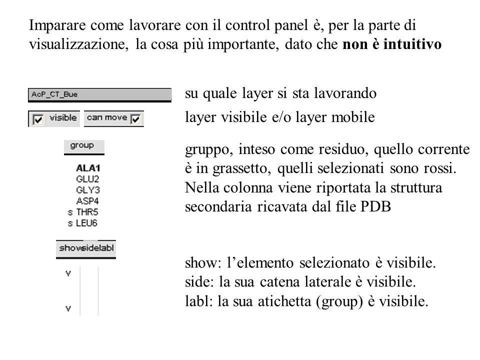 Imparare come lavorare con il control panel è, per la parte di visualizzazione, la cosa più importante, dato che non è intuitivo
