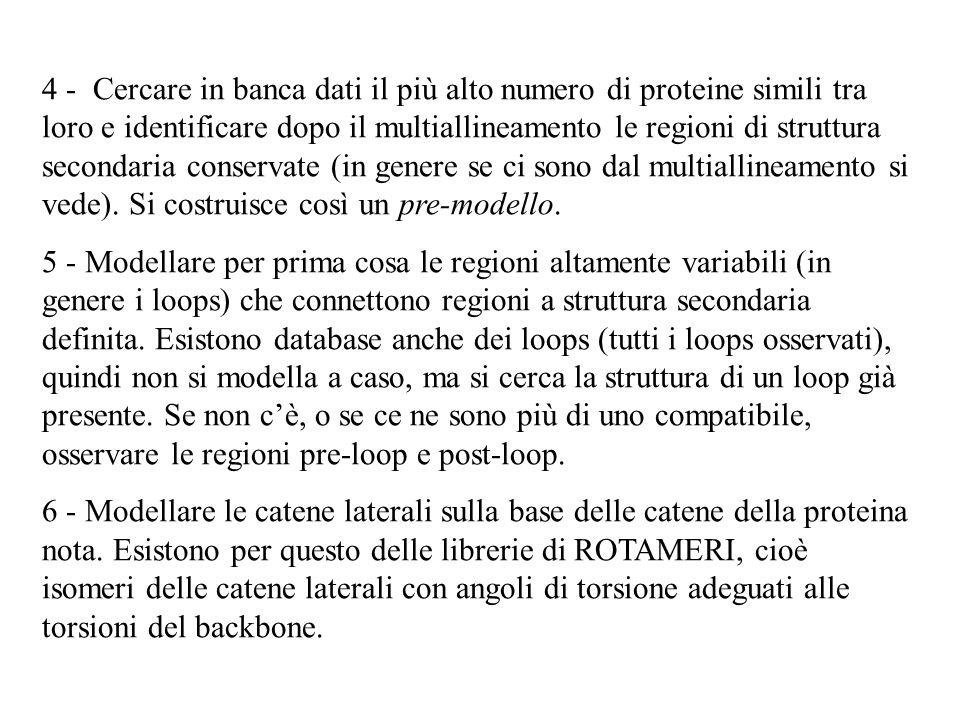 4 - Cercare in banca dati il più alto numero di proteine simili tra loro e identificare dopo il multiallineamento le regioni di struttura secondaria conservate (in genere se ci sono dal multiallineamento si vede). Si costruisce così un pre-modello.