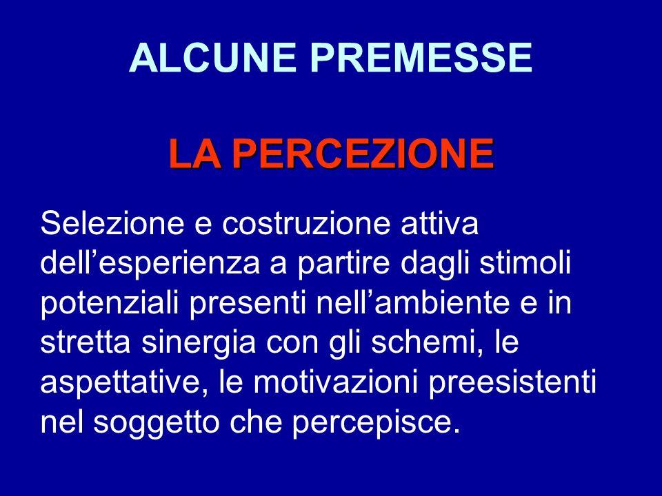 ALCUNE PREMESSE LA PERCEZIONE