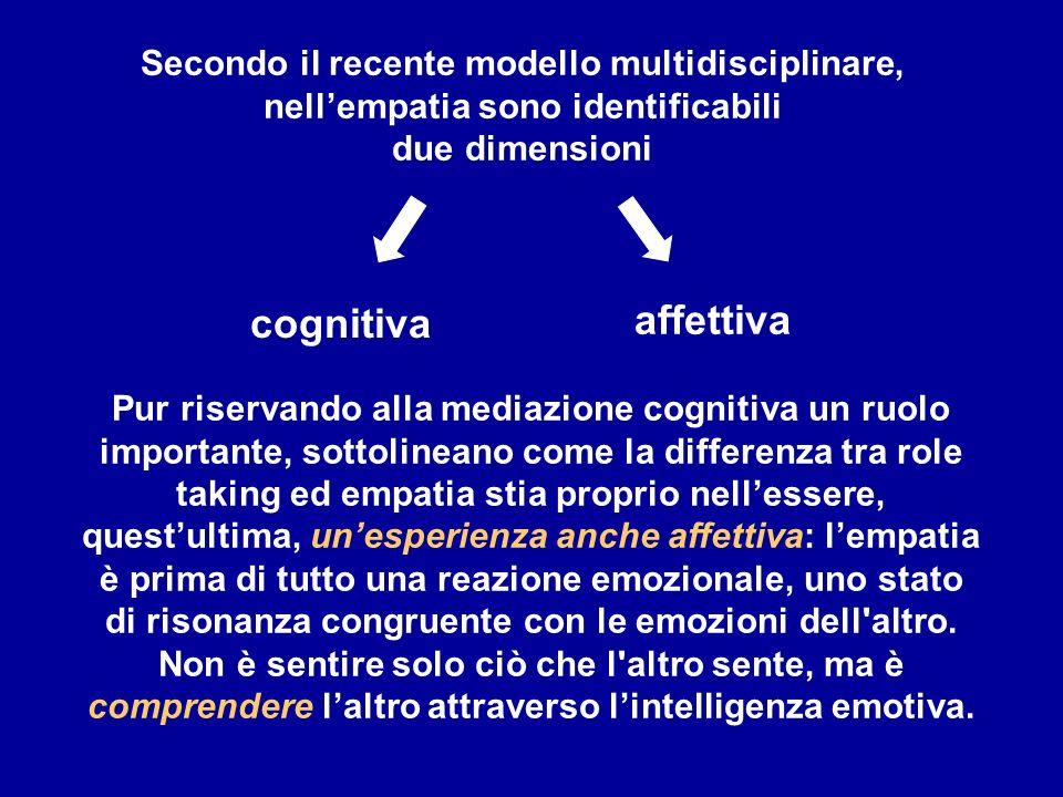 Secondo il recente modello multidisciplinare, nell'empatia sono identificabili
