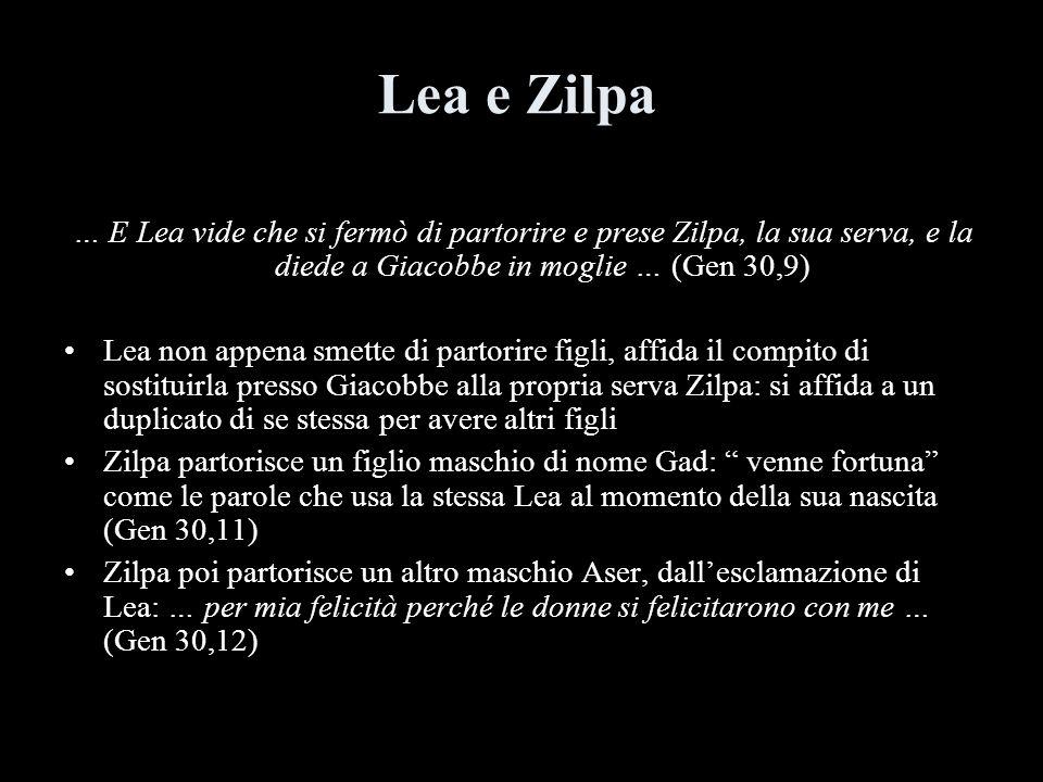 Lea e Zilpa … E Lea vide che si fermò di partorire e prese Zilpa, la sua serva, e la diede a Giacobbe in moglie … (Gen 30,9)