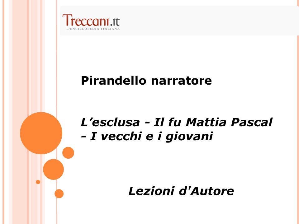 Pirandello narratore L'esclusa - Il fu Mattia Pascal - I vecchi e i giovani Lezioni d Autore