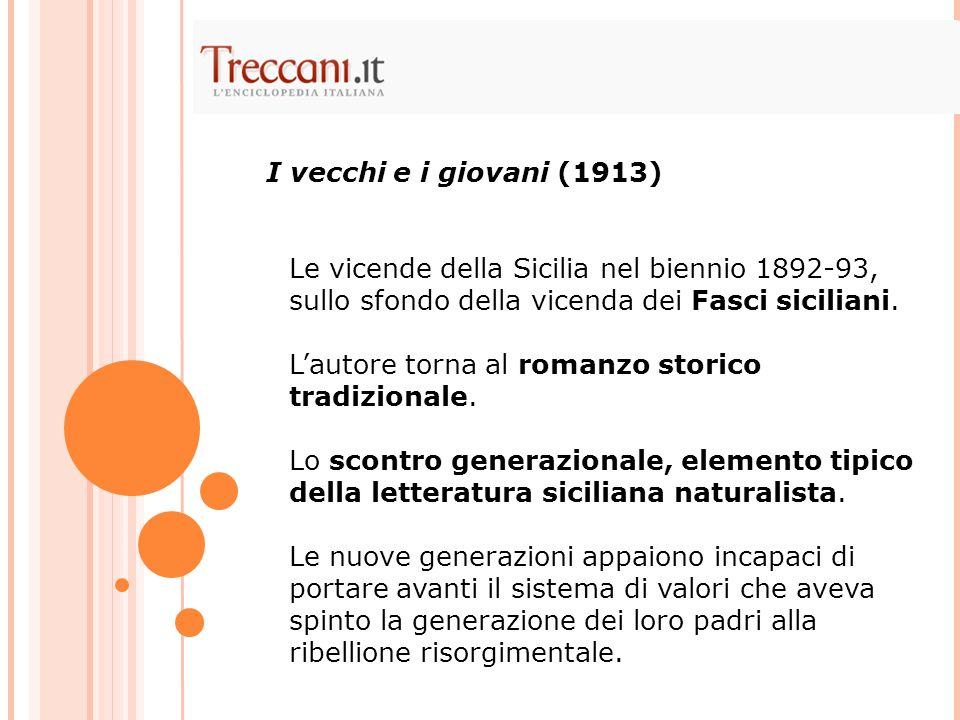 I vecchi e i giovani (1913)Le vicende della Sicilia nel biennio 1892-93, sullo sfondo della vicenda dei Fasci siciliani.