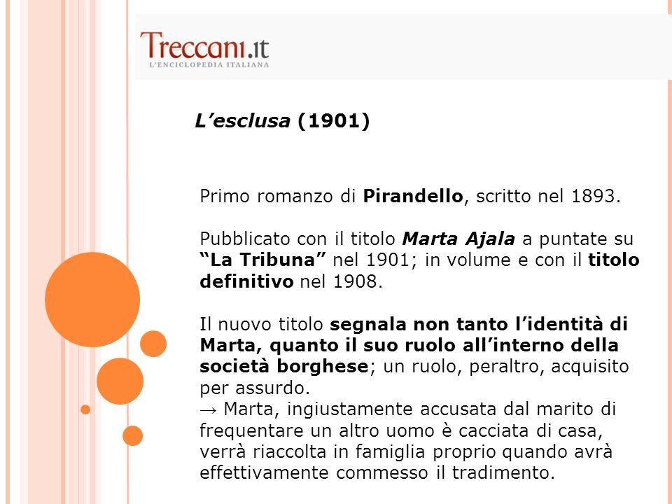 L'esclusa (1901) Primo romanzo di Pirandello, scritto nel 1893.