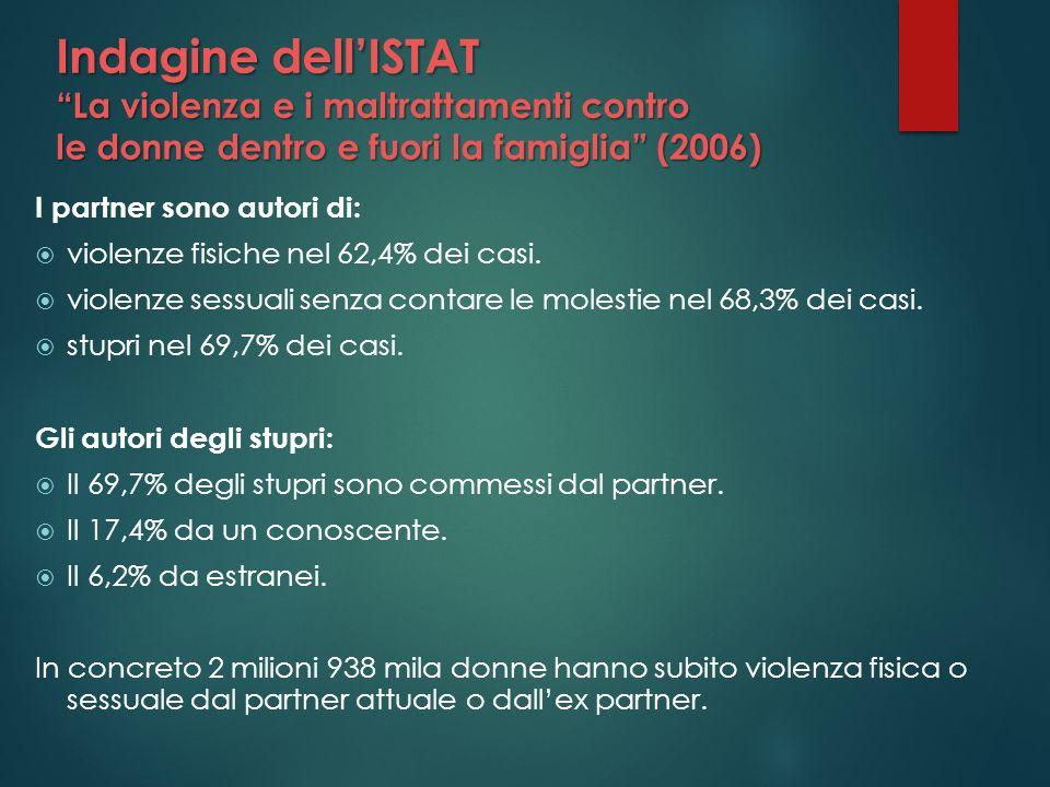 Indagine dell'ISTAT La violenza e i maltrattamenti contro le donne dentro e fuori la famiglia (2006)