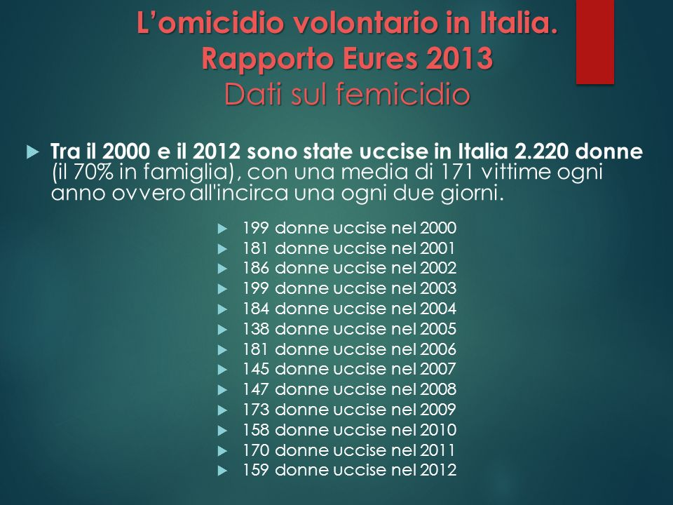 L'omicidio volontario in Italia. Rapporto Eures 2013 Dati sul femicidio