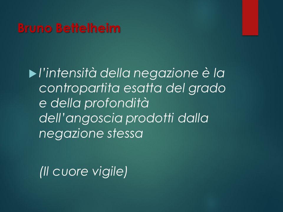 Bruno Bettelheim l'intensità della negazione è la contropartita esatta del grado e della profondità dell'angoscia prodotti dalla negazione stessa.