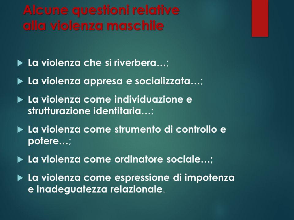 Alcune questioni relative alla violenza maschile